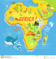 Cartoon Map Of Africa With Animals Stock Vector - Illustration of bird,  lion: 61953417