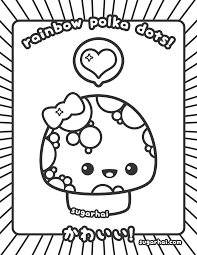 Cute Polka Dotted Mushroom Coloring Page