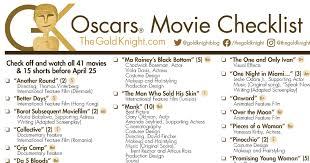 April 25, 2021, 8:21 pm edt updated on april 25, 2021, 11:46 pm edt. Oscars 2021 Download Our Printable Movie Checklist The Gold Knight Latest Academy Awards News And Insight