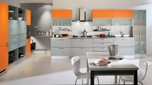 Orange And White Kitchen Interesting Kitchen Layout Design With Gray Orange Cabinet And