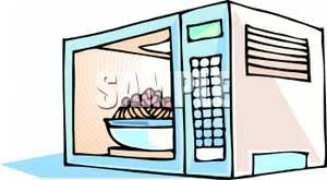 microwave clipart. a bowl of food in microwave oven - clipart