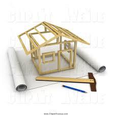 architecture blueprints 3d. 3d Stick House Being Constructed On Blueprints Architecture