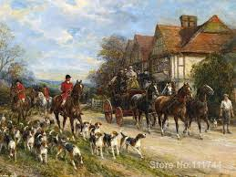 paintings by heywood hardy hunting dogs horses landscape art high quality hand painted