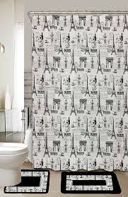 details about paris black white 15 piece bathroom accessory set 2 bath mats shower curtain