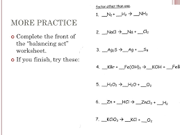 chemical reactions ppt balancing act worksheet