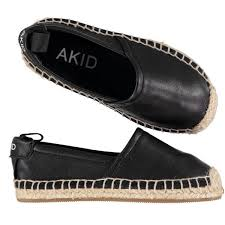 picture of elle leather espadrilles black