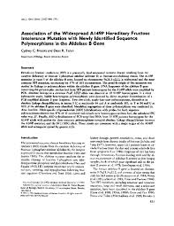 PDF) Association of the widespread A149P hereditary fructose intolerance  mutation with newly identified sequence polymorphisms in the aldolase B  gene | Dean Tolan - Academia.edu