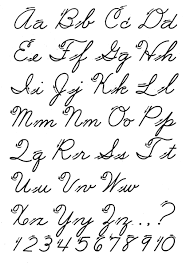 Old fashioned handwriting alphabet