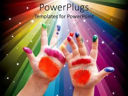 Powerpoint Template Child Hands With Colorful Painting On