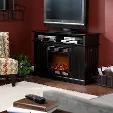 holly martin fenton media electric fireplace black center with wood mantel shelf small led candles battery