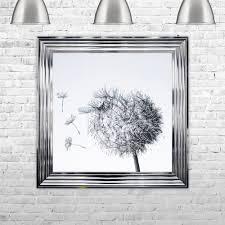 dandelion white background glitter art framed liquid artwork and swarovski crystals