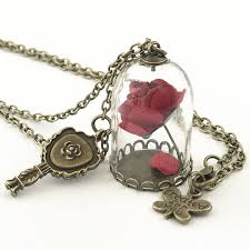 disney beauty and the beast enchanted rose terrarium mirror pendant necklace
