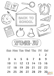 Small Picture September 2017 Calendar coloring page Free Printable Coloring Pages