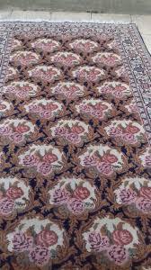 handmade persian rug navy blue pink orange cream gold flowers