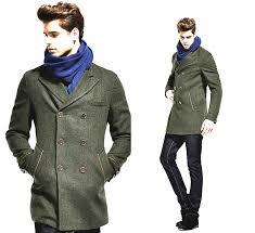 dark green australian wool mens long pea coat