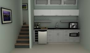kitchen: Bewitching Concept Of Kitchenette Design Ideas Beside Stairs With  Alluring Cabinet Also Black Countertop
