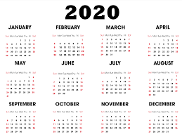 Small Printable 2020 Calendar One Year Small Calendar 2020 Template Horizontal Set Your