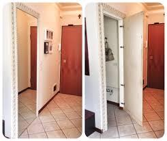 Armadio a muro realizzato in cartongesso bagno effetto legno