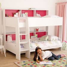 modern sleek bunk bed with white finish