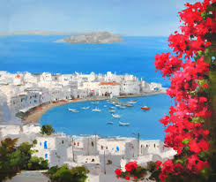 santorini greece white house red flowers blue sea seascape scenery oil painting canvas prints home goods