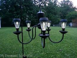turn an old chandelier into outdoor solar garden outdoor solar chandelier