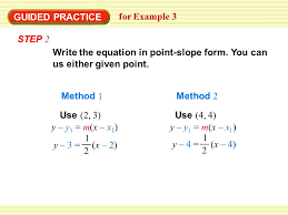 use point slope form to write an equation for