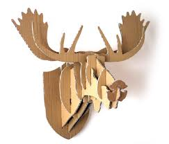 picture of cardboard box moose head wall hanging