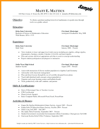 Resume For Students Math Mathematics Teacher Resume Sample Fresh