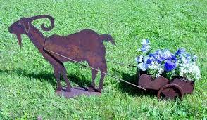 goat steel wheelbarrow planter