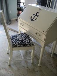 nautical desk and chair give wooden furniture a nautical makeover with chrome ings and navy