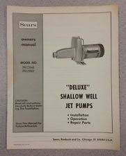 shallow well parts sears deluxe shallow well jet pumps manual guide installation operation parts