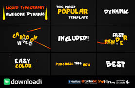 typography templates videohive dynamic liquid typography free download free after