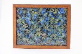 framed fused glass wall art panel