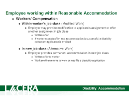 Reasonable Accommodation Workers' Compensation Vs. Disability ...