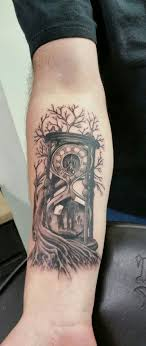 Time Family Father And Son Hour Glass Tree Roots Tattoos
