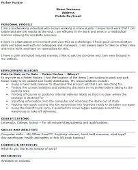 Resume for Packer Position picker packer cv example