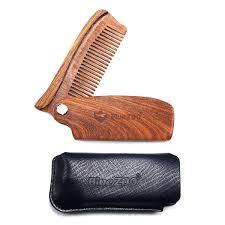 <b>Bluezoo Black Gold Sandal</b> Folding Comb + PU Bag Hair Beard ...