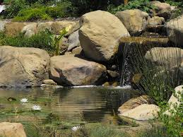 Lawn & Garden:Favorable Small Backyard Ponds With Natural Stone Waterfalls  Also Lily Water Planters