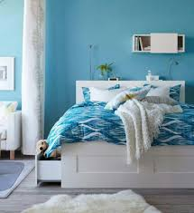 blue and white furniture. Living Ideas Bedroom Blue Walls White Furniture Fur Carpet And D