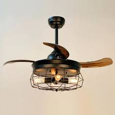 fandelier lighting inch industrial caged ceiling fan with remote control retractable blades maxim lighting chandelier