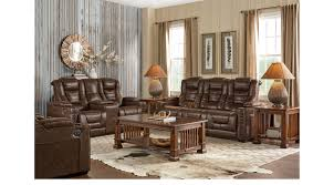 brown leather living room furniture. Eric Church Highway To Home Chief Brown 7 Pc Power Plus Reclining Living Room Leather Furniture