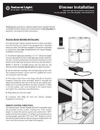 Tubular Skylight Electric Light Kit Natural Light Dimmer Installation Instructions Manualzz Com