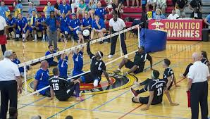 u s department of > photos > photo essays > essay view members of army and air force teams compete in the sitting volleyball gold medal match during