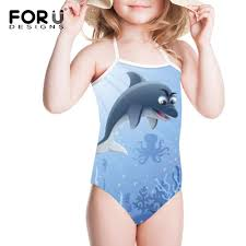 <b>FORUDESIGNS</b> Cute Dolphin Printing One piece Suits Swimsuit <b>Girl</b> ...