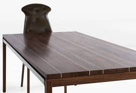 Inlaid Dining Table Joe Dining Table With Walnut Plank Top With Stainless Steel Inlay