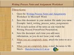 student instructional unit ppt  writing process notes and assignment worksheet