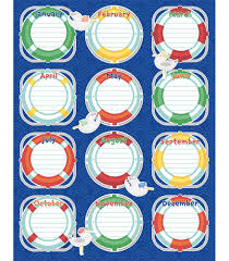Learning Resources Birthday Pocket Chart Nautical Birthday Chart