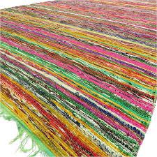 green decorative colorful chindi woven area bohemian boho rag rug 5 x 8