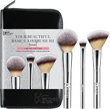 it cosmetics your beautiful basics airbrush 101 travel set 38 a limited edition selection of travel size makeup brushes in a luxe black case