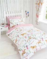 new double duvet cover bed set girls horse jumping pony riding quilt cover set